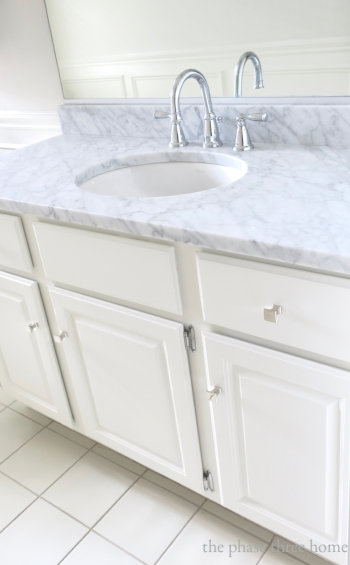 girl's bath restyle with marble vanity top