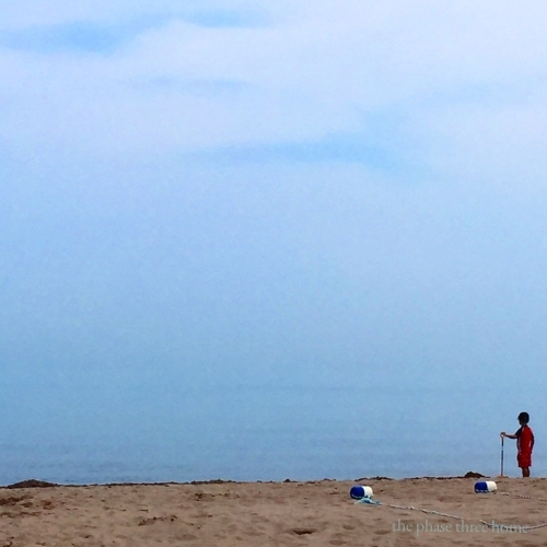 wilmette beach with child